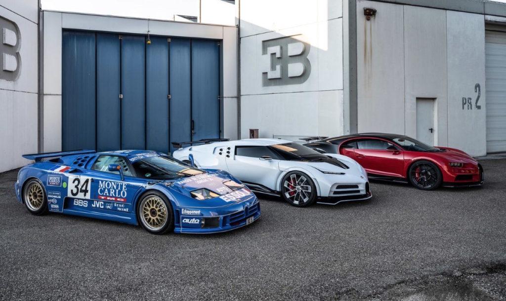 Bugatti Centodieci con Chiron e EB110