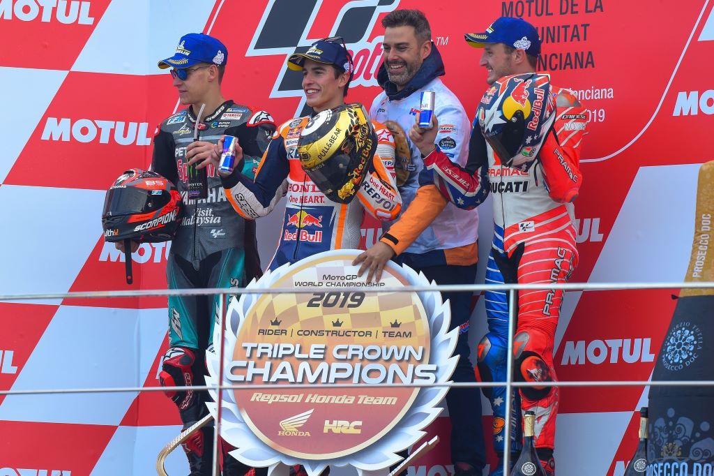 Podio GP di Valencia, Spagna, MotoGP 2019