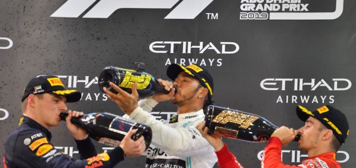Podio GP Abu Dhabi F1 2019, Lewis Hamilton, Max Verstappen, Charles Leclerc