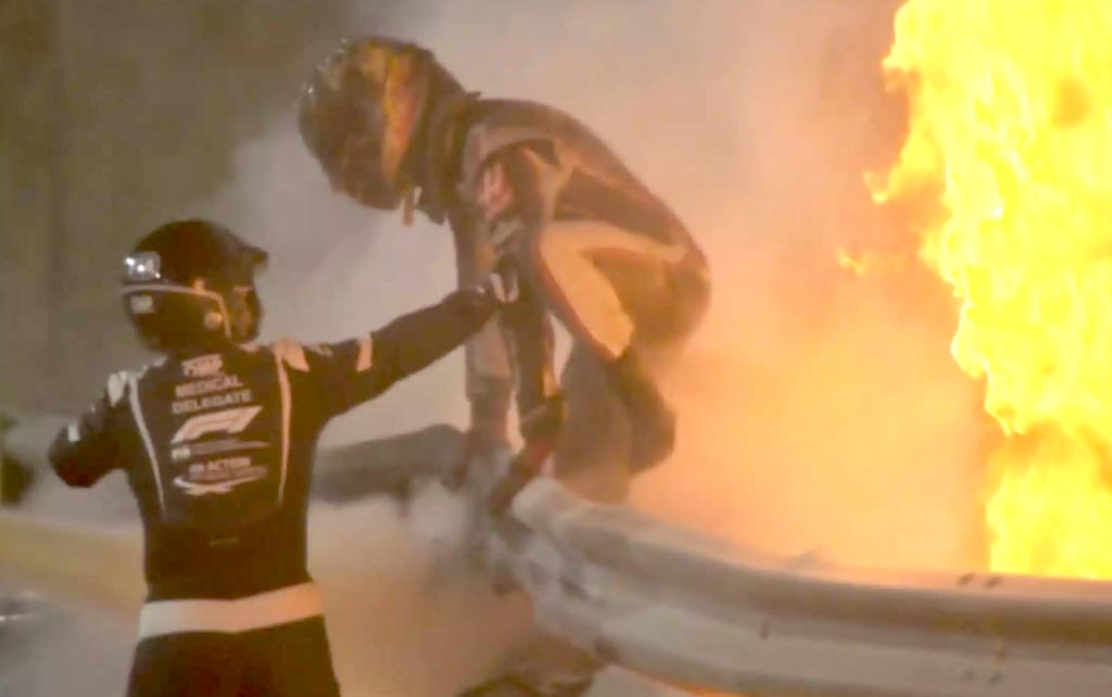 F1, Gran Premio del Bahrein: spaventoso incidente per Grosjean